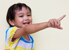 Thai Child Pointing. Royalty Free Stock Image