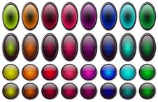 Free Shiny Glossy Buttons Set Royalty Free Stock Images - 21533609