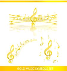 Free Abstract Music Symbols Set Gold Color Stock Photography - 21537662