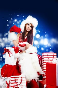 Sexy Girl Wearing Santa Claus Clothes Stock Photos