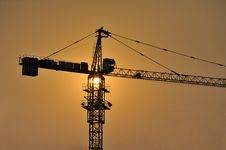 Free Construction Site On Sunset Royalty Free Stock Images - 21538759