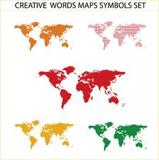 Free Colored World Maps Set Isolated On The White Stock Photography - 21539482