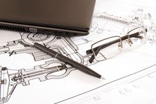 Glasses, Pen And Laptop Royalty Free Stock Images
