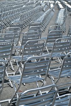 Empty Metal Chairs Royalty Free Stock Photography