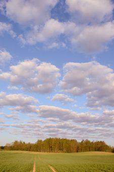 Deserted Road An Cloudy Sky. Stock Photos