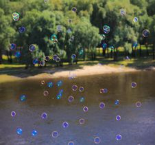 Free Soap Bubble On Bright  Background Royalty Free Stock Photos - 21550178