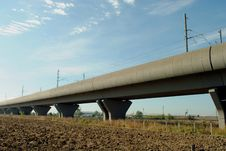 Free High Speed Train Elevated Railway Royalty Free Stock Photo - 21550245