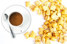 Free Coffee Cup With Cracker. Stock Photo - 21554910