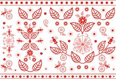 Free Vector Red Floral Pattern Royalty Free Stock Photography - 21558357