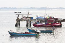 Fishing Bridge And Fishing Boat Stock Photo