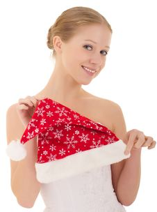 Free Beautiful Girl Holding A Christmas Hat Royalty Free Stock Image - 21561196