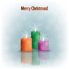 Christmas Candles On Grey Royalty Free Stock Photography