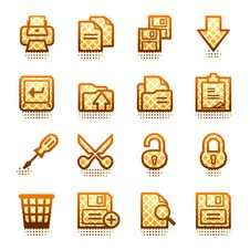 Free Document Web Icons, Set 1. Brown Series. Stock Photos - 21563453