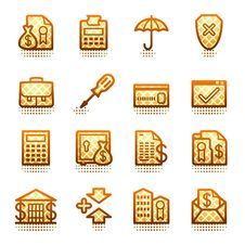 Free Banking Web Icons.  Brown Series. Stock Photos - 21563493