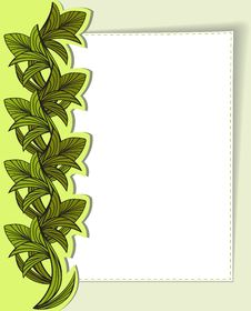 Free Card With Green Leaves Royalty Free Stock Images - 21566689