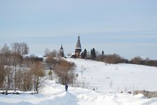 Free Winter Landscape With Orthodox Church Royalty Free Stock Photography - 21567507