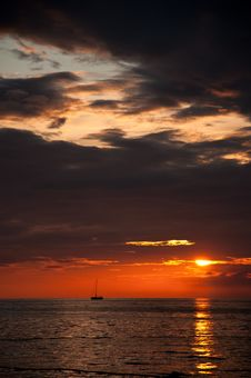 Dramatic Twilight On The Adriatic Sea Royalty Free Stock Photo