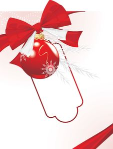 Free Christmas Ball With Bow And Tinsel. Festive Card Stock Image - 21568481