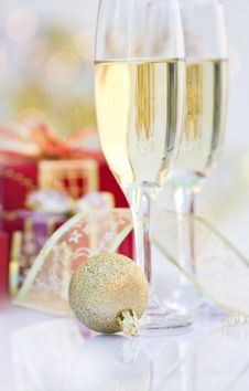 Champagne Glasses With Gifts Stock Image