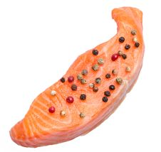 Free Fresh Slice Of Salmon With Color Pepper Stock Image - 21572061