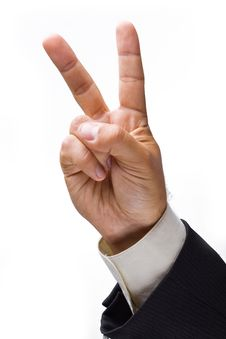 Businessman Hand Showing A Sign. Royalty Free Stock Image