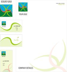 Free Leaf Logo On Business Card And Letterhead Stock Photography - 21575622