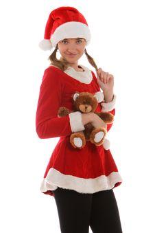 Free Santa S Helper Holding A Bear Stock Photos - 21576103