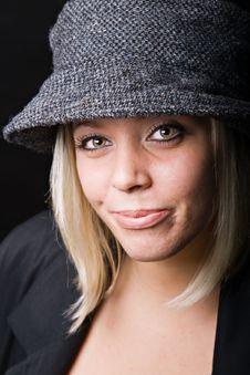 Free Beautiful Blonde Wearing Tweed Rain Hat Royalty Free Stock Photography - 21576177
