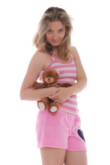 Free Smiling Woman Holding A Cute Teddy Bear Royalty Free Stock Image - 21576436
