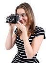 Free Woman Shooting A Vintage Camera Royalty Free Stock Image - 21588326