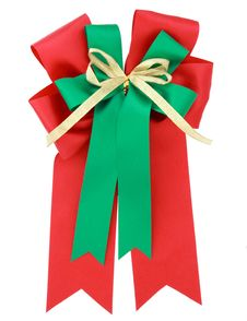 Free Red Ribbon And Bow Isolated On White Royalty Free Stock Image - 21581396