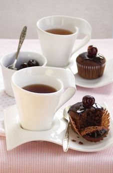 Free Breakfast With Chocolate Cup Cakes Royalty Free Stock Image - 21584526