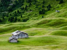 Free Green Grass And Mountain Huts In Trentino, Italy Stock Image - 21584871