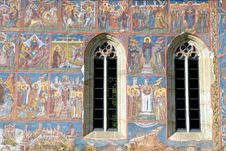 Fresco Old Monastery Painted Wall Sucevita Romania Stock Images