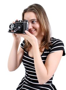 Free Woman Shooting A Vintage Camera Royalty Free Stock Image - 21588326