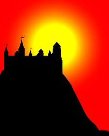 Castle On A High Hill At Sunset Royalty Free Stock Image