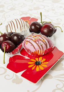 Free Cup Of Donut And Cherry In Beautiful Flower Plate Stock Photos - 21588903