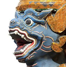 Free Antique Thai Blue Face Monkey Statue Stock Photography - 21589272