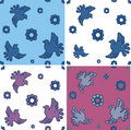 Free Set Of Seamless Patterns  With Stylized Doves Royalty Free Stock Image - 21597516