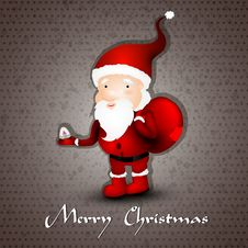 Free Christmas Greeting Card Whith Cute Santa Claus Royalty Free Stock Photos - 21594068