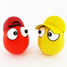 Free Funny Eggs In Cap As A Cartoon Stock Photography - 21594392