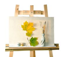 Canvas,  Leaves On An Easel Royalty Free Stock Photo