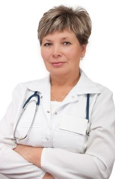 Woman Doctor Standing With Hands Crossed Royalty Free Stock Images
