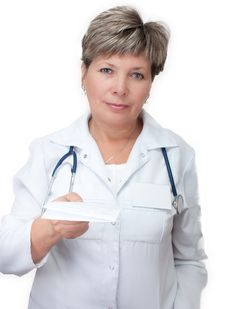 Free Woman Doctor Holding A Prescription Stock Image - 21598491