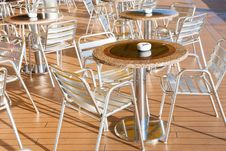Tables With Ashtrays In Outdoor Bar Stock Image