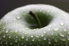 Free Wet Green Apple With Stem Royalty Free Stock Photography - 2161447