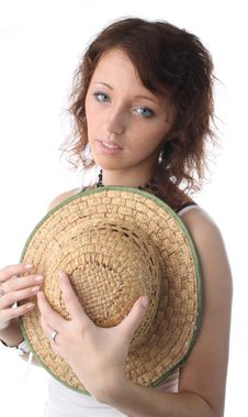Free Girl With Straw Cap Stock Photos - 2161713