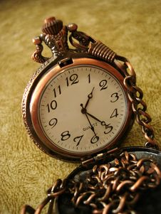 Close-up Of Old Golden Clock Royalty Free Stock Images