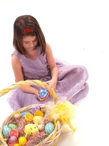 Adorable Girl With Easter Eggs Royalty Free Stock Photo