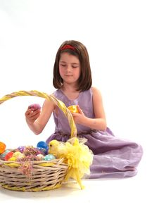 Free Adorable Girl With Easter Eggs Stock Photo - 2168770